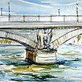 Paris bridge and sky and river