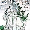Sculpted woman, sculpted man, Luxembourg gardens