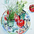 Tomatoes, herbs, plate