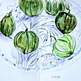 Tomatillos on glass plate