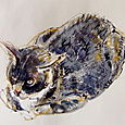 Pearl kitty in oil pastels, ink, watercolors