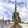 Josselin rooftops and basilica spire