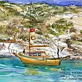 Turkey: orange sailboat