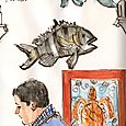 Florida: fish on wall + man