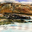 Iceland sketches: mountain ridge opposite Budir bay