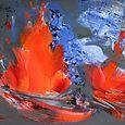Volcano: double lava fountain