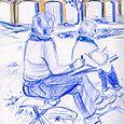 Portland: Vicky and Linda sketching