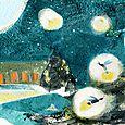Fireflies ascending, magazine illustration