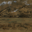 Alaska: gestural mountain in pencil, crayon, sand
