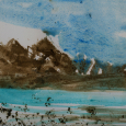 Alaska: Copper Mountain, painted in mud, sand, watercolor