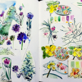 Garden illustration leftovers: sketchbook collage