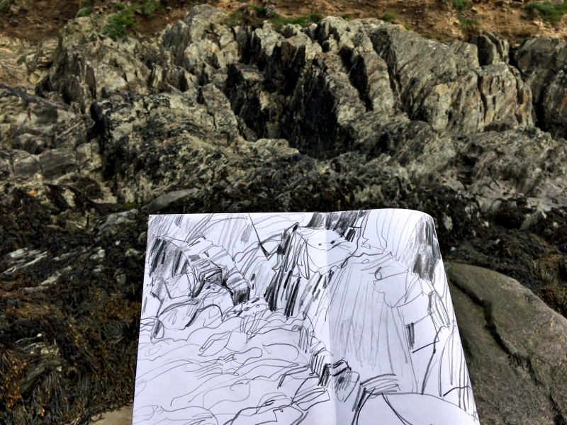 Wales whitesands drawing with photo of rocks