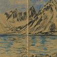 Norway, Svalbard: mountain, fjord, glacier sketch