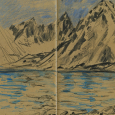 Norway, Svalbard: mountain, fjord, glacier sketch