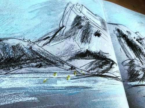 Norway sketch from boat