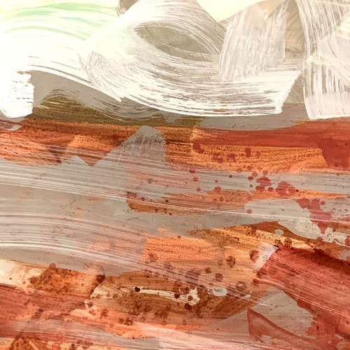 Red clay study with swirling sky