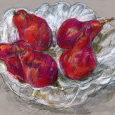 Red pears, white bowl