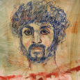 Drawing after Fayum Mummy painting. Red and blue china pencils and painted paper.