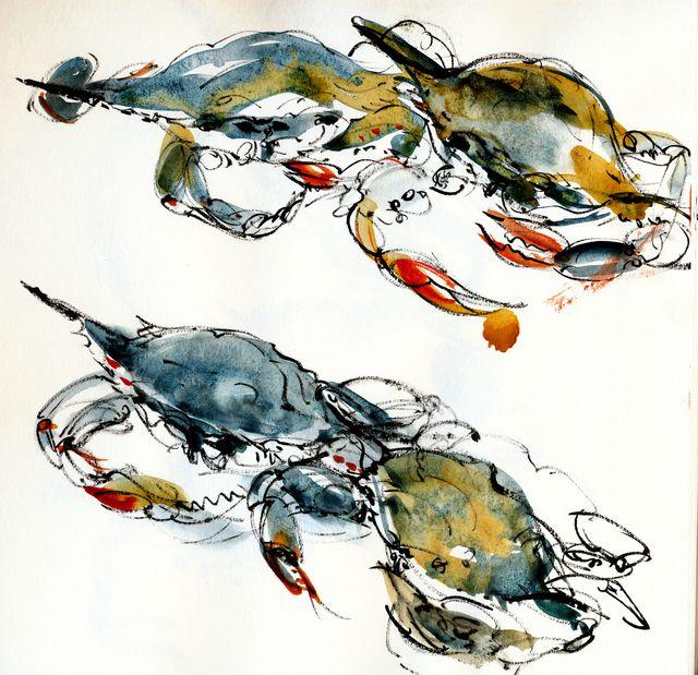 Blue crabs x 4