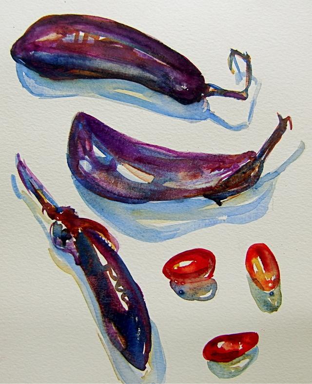 Eggplant calligraphy