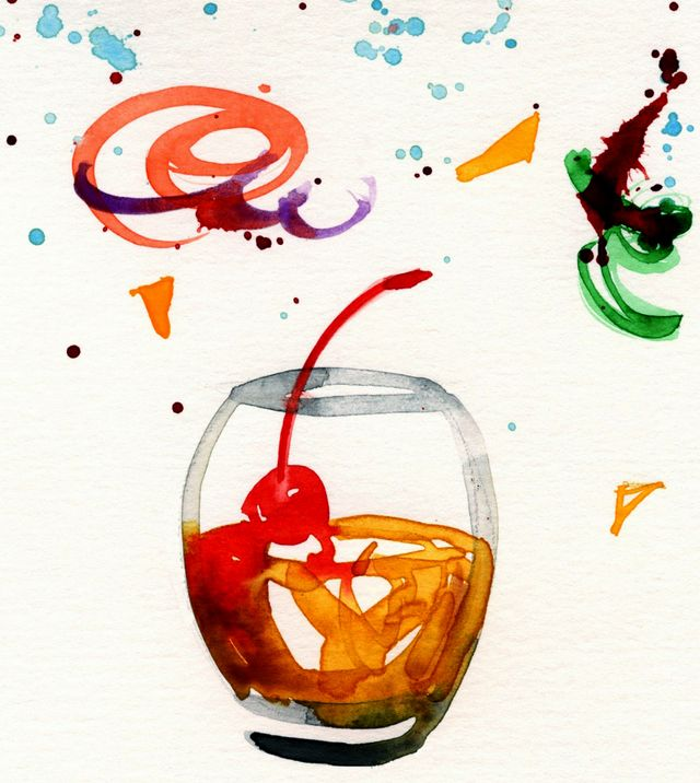 Vieux carré cocktail illustration