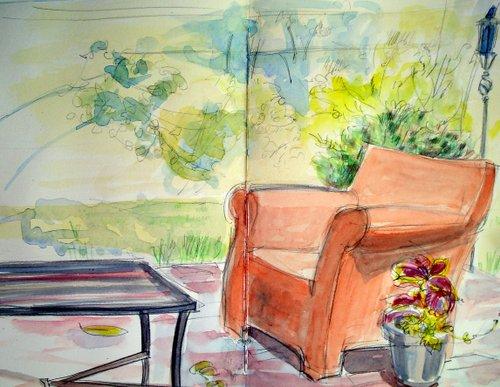 Orange chair, Moreton's garden