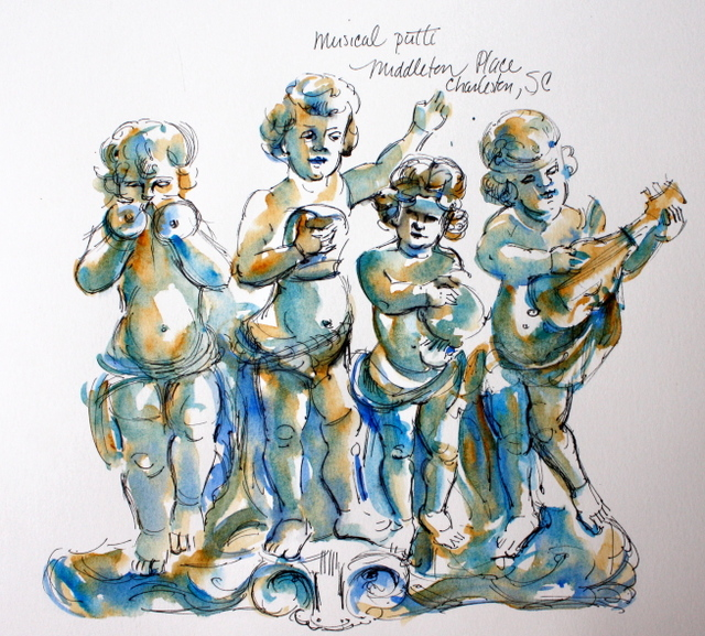 Musical cherubs, Middleton Place, South Carolina