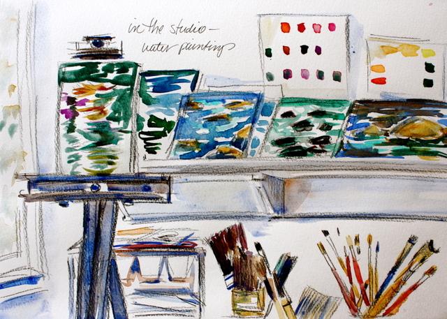 Watery paintings, my studio