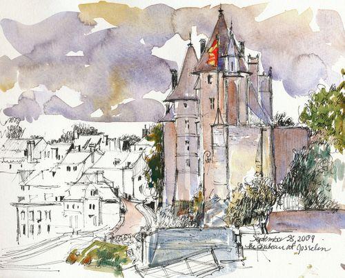 Josselin chateau seen from Nantes-Brest canal