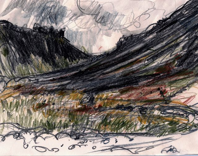 Iceland sketch: looking west from Budir
