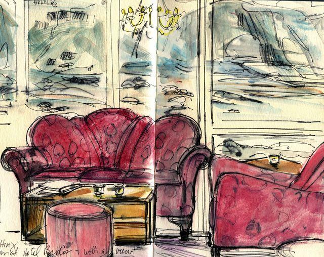 Iceland sketches: Hotel Budir lobby interior