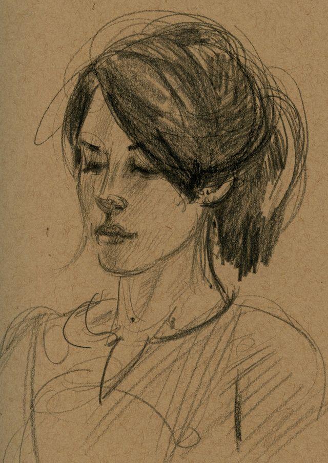 Meg, toned paper