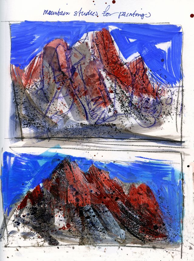 Journal pages: mountain studies for paintings