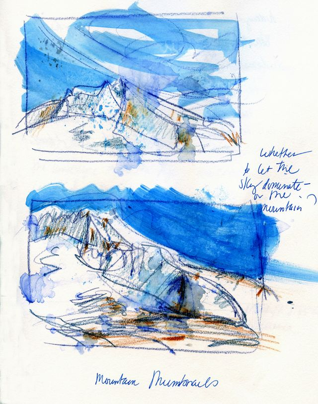 Journal pages: Mt Hood thumbnail studies for painting