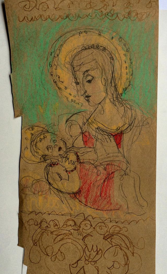 Nasher Museum, madonna and child on brown paper
