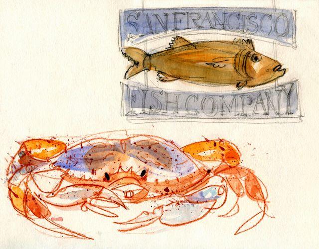 San-francisco-fish-sign-and-crab