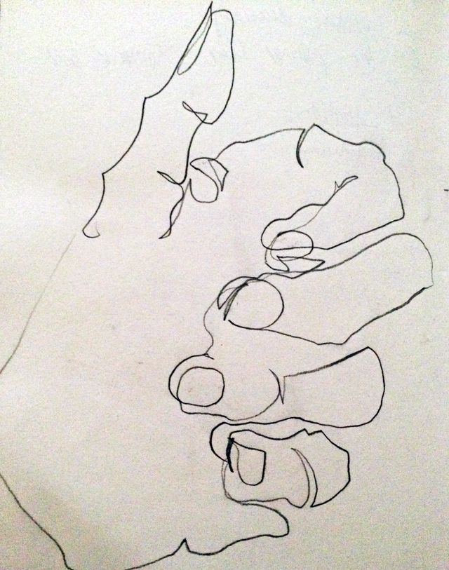 Blind contour thumbs up
