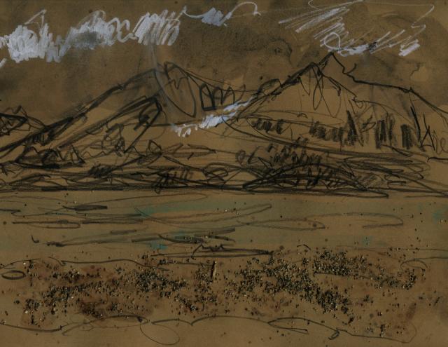 Alaska: gestural mountain in pencil, crayon, sand