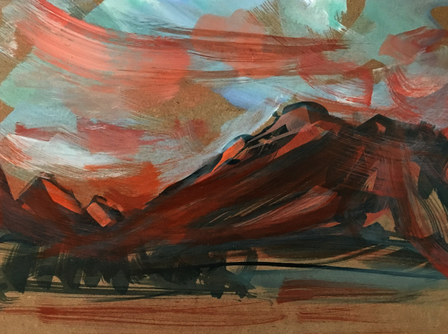 Copper Mountain study on wood panel