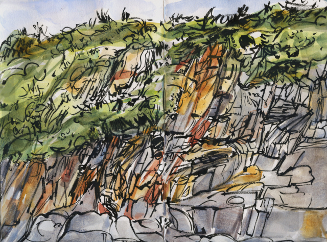 Wales : Abereiddi slate quarry