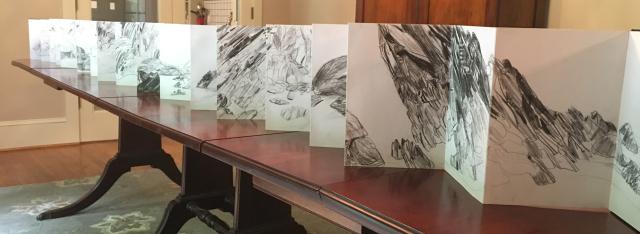 Wales sketchbook on table