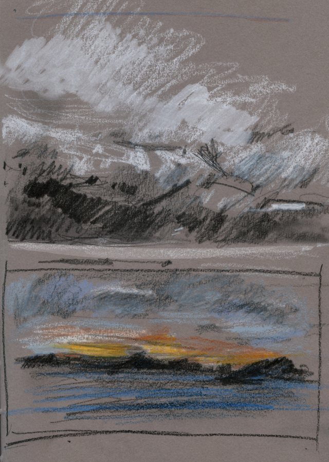 Norway 2019, quick sketches from moving boat