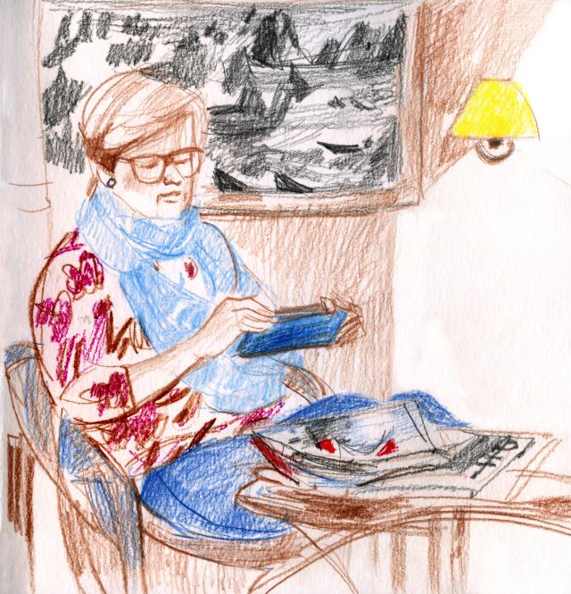 MS Trollfjord: woman reading