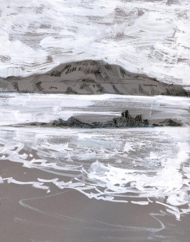 Wales: Gray day, Whitesands Beach