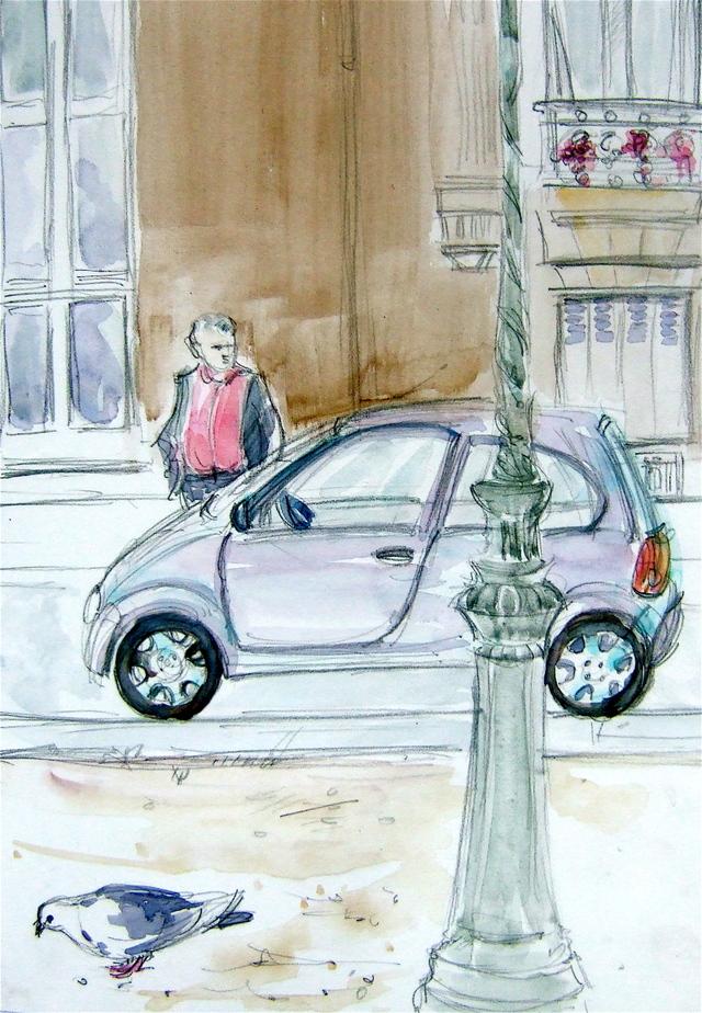 Little car, pigeon, man
