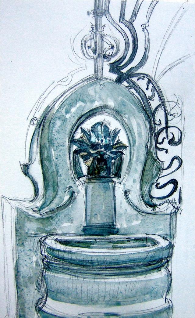 Art Nouveau fountain at Square Rapp, Paris