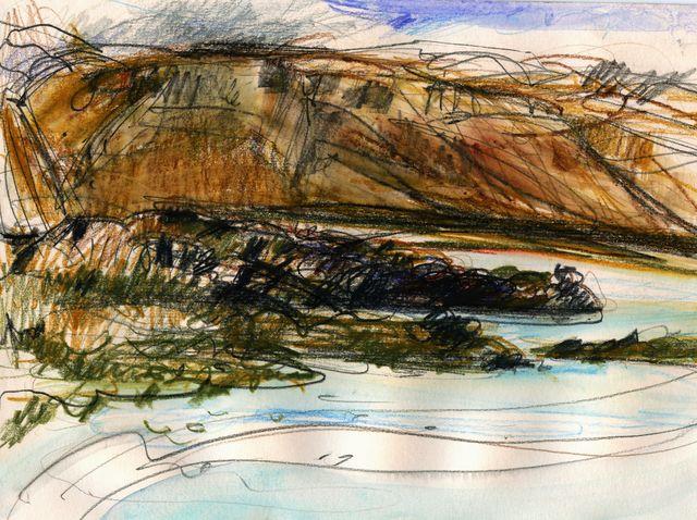 Iceland sketches: mountain ridge opposite Budir bay